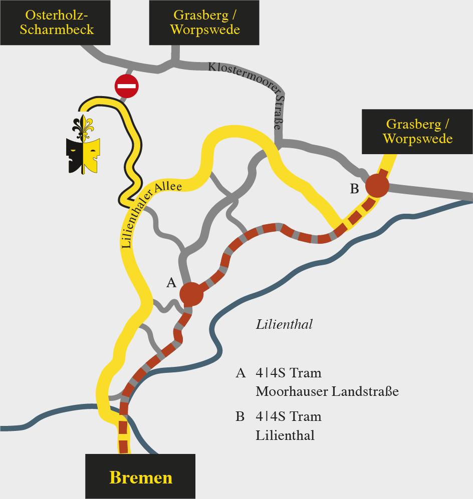 Straßen-Karte von Lilienthal mit Anfahrt zur Freilichtbühne